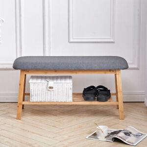 2 Seater Grey Shoe Bench with Cushion Seat Padded And Shelf Rack Storage Hallway