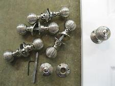 Pair of Victorian Reproduction Beehive Nickel Plated Door Knobs & Roses REC02