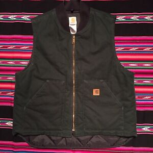 Mens Vintage Carhartt Green Duck Canvas Quilted Vest Size XL USA Made