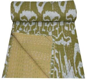 Indian Embroidery Kantha Quilt Bedspread Ikat Print Throw Cotton Green