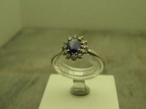 Wunderschöner zarter Safir- Brillant Ring Weißgold