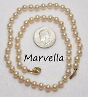 """Vintage Signed MARVELLA Cream Glass Pearl Necklace, Hand-Knotted Strand, 6mm 18"""""""
