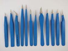 12 Tweezers epoxy coated steel set non magnetic craft jewellery tweezer tool