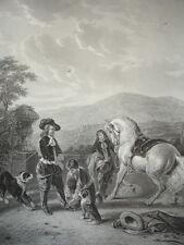 """GRAVURE 1860 """" Le départ pour la chasse """" Mourenhout 370x260"""