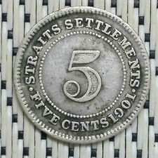 *GOOD Grade* 1901 - Straits Settlements - 5 Cents Victoria Silver #CRP