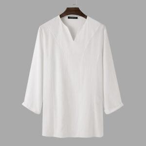 Mens Long Sleeve V-Neck Linen Shirt Ethnic Party Kurta Tunic Kaftan Top T Shirts