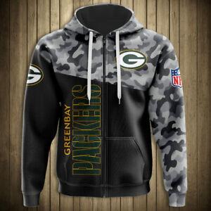 Green Bay Packers Fan's Hoodie zipper Hooded Sweatshirt Autumn Sports Jacket