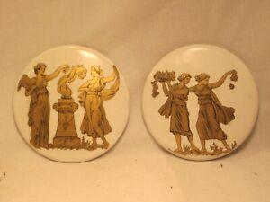 "2 vintage porcelain ceramic wall decor mini plates dish approx. 3"" Roman Greek"