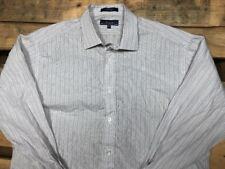 Faconnable Mens 7/17.5 Striped Dress Shirt Button Down France Cotton White XL