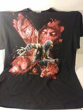 Mortal Kombat X T-shirt Scorpion Brush Strokes Graphic Tee Cotton Black XL