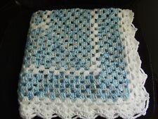 """blue/white hand knit crochet blanket 29"""" x 29"""""""