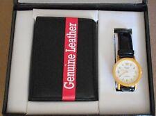 Mens 2 Pc Vintage Acuet Japan White Face Wristwatch Tri-Fold Leather Wallet Set
