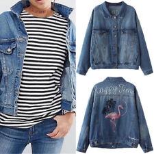 Women Fashion Embroidered Flamingo Long Sleeve Denim Jacket coat JEANS outwear