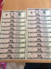Crisp brand New U.S. dollar/dollars Note Notes $5 Notes (=$100) Tips Tolls (003)