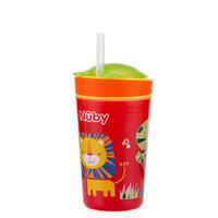 Nuby Snack N' Sip 270ml Cup Red -Lion 12M+