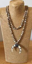 Fashion long knot 6-8mmyellow Stones Hematite Crystal Rhinestone ox horn pendant