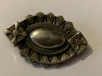 Antique Victorian Etruscan Style Sterling Silver Brooch
