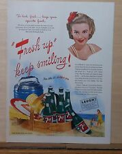 1945 magazine ad for 7 Up Soda - Keep Smiling, beach picnic basket full of 7 Up