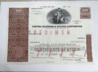"Central Telephone & Utilities Corporation ABN ""Specimen"" Stock Certificate"