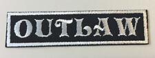 "Custom  Biker Vest Patch OUTLAW  4""X 1"" (sew/iron on) GRAY ON BLACK"
