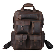 "Large 17"" Laptop Real Leather Backpack Mens Travel Hiking Carry on Bag Rucksack"