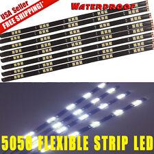 8x Flexible Strip 30cm  White Car Motorcycle 15 LED Lights Waterproof 12V 6000K