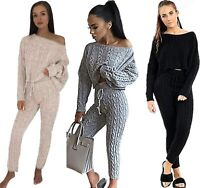 Fashion Hub 2 Pcs Womens Cable Knitted Bagy Casual Tracksuit Set Ladies Jumper