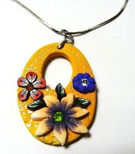 """w Colorful Cz on 19"""" Chain Polymer 00004000  Clay Handmade Necklace Yellow Oval Flower"""