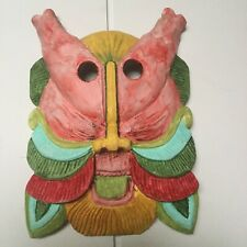 Vintage Mask - Colorful Demon Bearded Hand Carved Hand Painted Wood Tongue Out