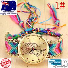 Womens Fashion Dream Catcher Handmade Boho Analogue Quartz Braided Wrist Watch