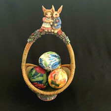 Jim Shore 2006 Gathering Joy Easter Basket With 4 Eggs Decoupage Real Eggs