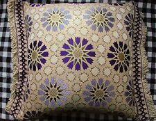 Brocade Pillow Covers Made in Morocco - Small Lightweight - Purple Stars -Fringe