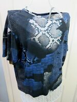 & And Other Stories Blue Abstract Graphic Top Size 36 UK 10 Modal Cotton Jersey