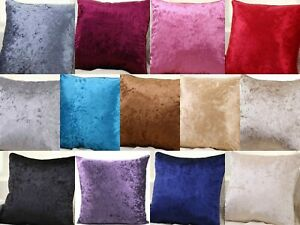 "Crushed Velvet Cushion Covers Luxury Plain Cushion Covers 18x18"", 24x24, 30x30"""