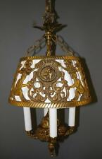 ANTIQUE DECO SPANISH EGYPTIAN REVIVAL FIGURAL DRAGONS CHANDELIER LIGHT FIXTURE