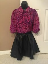 Hello Kitty Pussybow Pink Leopard Blouse & Faux Leather Embossed Skirt S Small