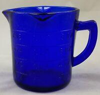 COBALT BLUE GLASS 1 CUP OR 8 OZ CUP CAPACITY 3 SPOUT MEASURER MEASURING CUP