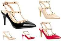 New Ladies Ankle strap Studded Pointed Medium Heel Party Evening Fashion Shoes