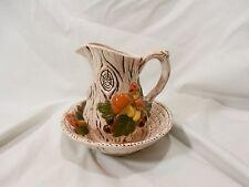 1972 Vintage Ceramic Bowl & Pitcher Set Forest Mushroom and Faux Wood Design