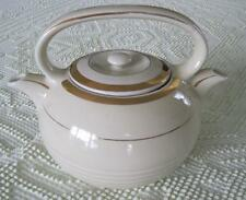 1940's Hall China Twin Spout Teamaster Two Compartment Teapot Ivory Gold Trim