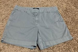 J Crew Chino Light Gray Flat Front Cotton Blend Women's 6 Casual Chino Shorts
