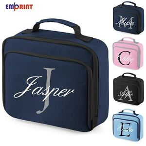 Personalised Script Lunch Bag Childrens School Insulated Girls Boys Snack Box