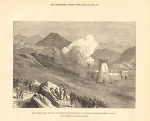 1879  ANTIQUE PRINT - AFGHAN WAR - BLOWING UP TOWERS, KASSARA, AFREEDI COUNTRY