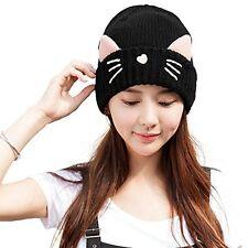 Siggi Womens Wool Knit Black Skull Cable Watch Slouch Beanie Cap Cat Ears Hats