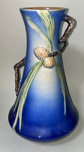 Early Roseville # 712-12 American Art Pottery Blue Pinecone Vase