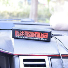 12V/24V Digital LCD Clock In/Out Thermometer ICE Alert Kit Car Voltage Meter