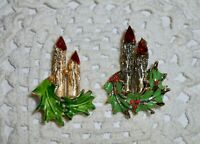 Vintage Enamel Christmas Candle Rhinestone Brooch Pin Lot of 2 Gold-tone  C141