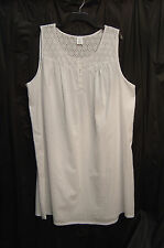 CROFT & BARROW COTTON BLEND LIGHTWEIGHT SMOCKED SWISS DOT EYELET NIGHTGOWN~3X~NW