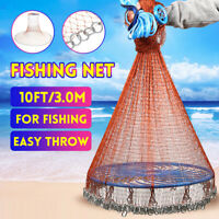 10FT 3.0M Hand Throw Fishing Net Nylon Tyre Mesh Bait Casting w/ Flying