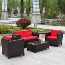 4PCS Patio Lawn Sectional Sofa Set Outdoor Furniture Garden Couch Set Red C0F3